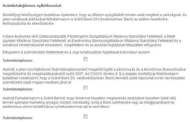 nyilatkozatok Gránit Bank
