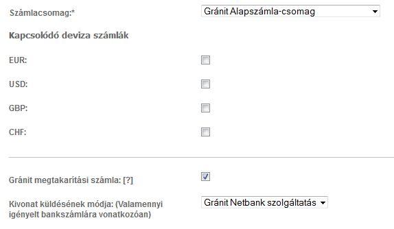 számlacsomag Gránit Bank